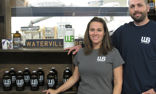 Candice & Ryan Flaherty, co-founders and owners of Waterville Brewing Company (WBC). Click to learn more about WBC.